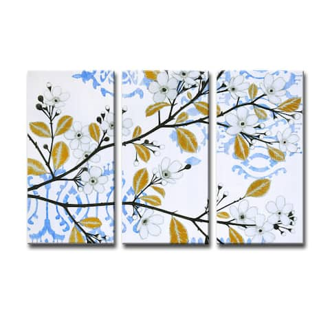 Ready2HangArt 'Ikat Cherry Blossom' by Norman Wyatt Jr. 3-PC Canvas Art Set