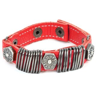 Men's Red Leather Hexagon Bolts Bangle Bracelet - 8.5 inches (16mm Wide)