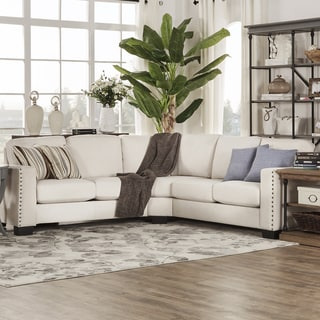 Torrington Linen Nailhead Track Arm Rounded L-Shaped Configurable Sectional by iNSPIRE Q Classic