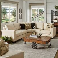 Torrington Ivory Linen Track Arm L-shape Sectional by iNSPIRE Q Classic