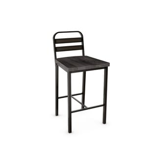 Amisco Accord Metal Counter Stool With Distressed Wood Seat