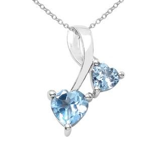 Sterling Silver 7/8ct TGW Blue Topaz Pendant