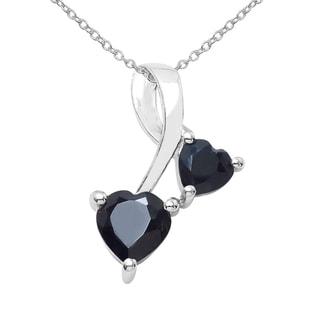 Sterling Silver 1ct TGW Black Sapphire Pendant