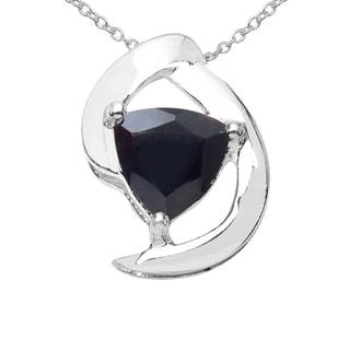 Sterling Silver 7/8ct TGW Black Sapphire Pendant
