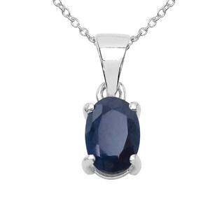 Sterling Silver 1ct TGW Blue Sapphire Pendant