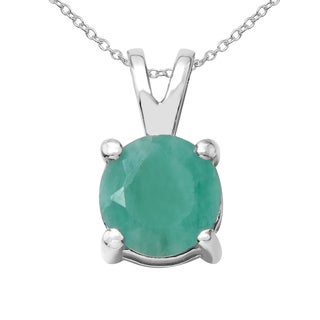 Sterling Silver 7/8ct TGW Emerald Pendant