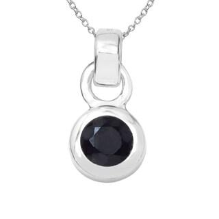 Sterling Silver 2/5ct TGW Black Sapphire Pendant