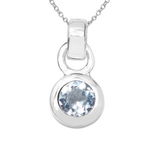 Sterling Silver 1/3ct TGW Aquamarine Pendant
