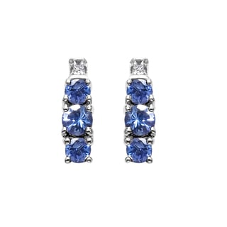 Sterling Silver 7/8ct TGW Tanzanite and White Topaz Earrings