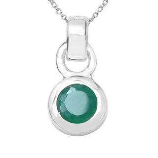 Sterling Silver 1/3ct TGW Emerald Pendant