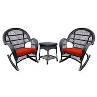 The Gray Barn Bluebird Espresso Rocker Wicker Chair And End Table Set with Cushions