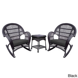 Havenside Home Surfside Espresso Rocker Wicker Chair And End Table Set with Cushions