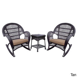 Santa Maria Espresso Rocker Wicker Chair And End Table Set with Cushions (Option: Tan)