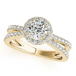 14k Gold 1.25ct Diamond Frame Engagement Ring Split Shank Halo (G-H, SI1-SI2)