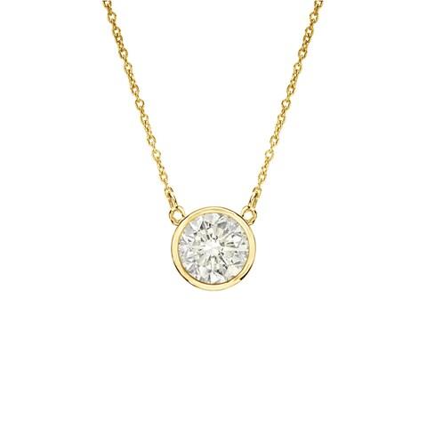 Auriya 1/4ctw Round Bezel Set Solitaire Diamond Necklace 14K Gold