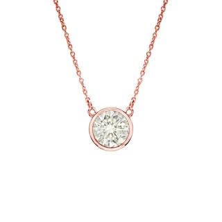 Auriya 14k Gold 1/4ct TDW Round Cut Diamond Solitaire Bezel Necklace (J-K, I1-I2)