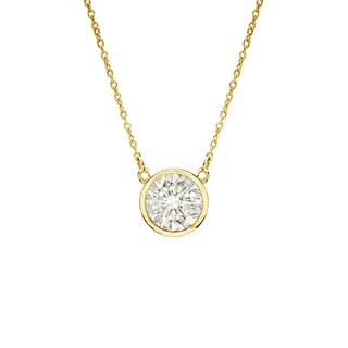 Auriya 14k Gold 1/4ct TDW Round Diamond Bezel Solitaire Necklace (2 options available)