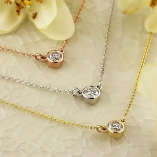 Auriya 14K Gold 1/4ctw Round Bezel-set Solitaire Diamond Necklace