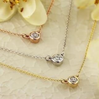 Auriya 14k Gold 1/4ct TDW Round Diamond Bezel Solitaire Necklace https://ak1.ostkcdn.com/images/products/11409530/P18374053.jpg?impolicy=medium