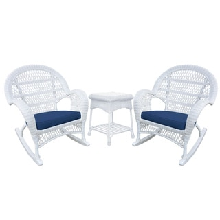 Santa Maria White Rocker Wicker Chair and End Table Set