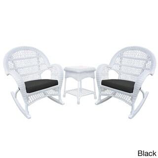 Santa Maria White Rocker Wicker Chair and End Table Set (Black)
