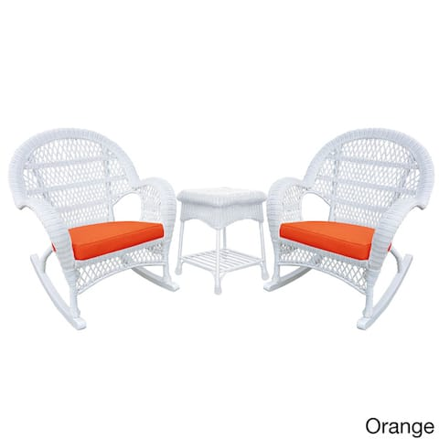 Santa Maria White Rocker Wicker Chair and End Table Set