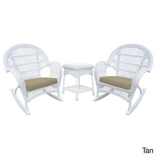 Santa Maria White Rocker Wicker Chair and End Table Set (Tan)