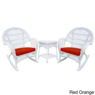 Santa Maria White Rocker Wicker Chair and End Table Set (Red)