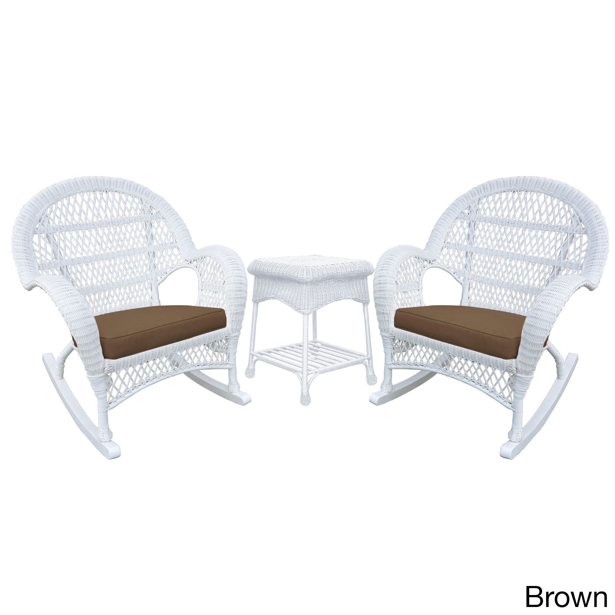 Jeco Santa Maria White Rocker Wicker Chair and End Table ...