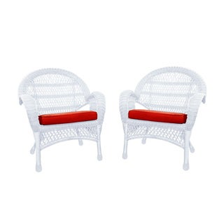 Santa Maria White Rocker Wicker Chair With Cushion - Set of 4