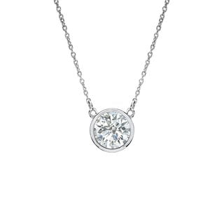 Auriya 14k Gold 1/4ct TDW Round Cut Diamond Solitaire Bezel Necklace