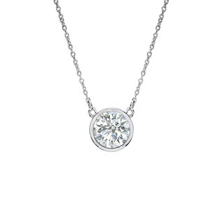 Auriya 14k Gold 1/4ct TDW Round Cut Diamond Solitaire Bezel Necklace (3 options available)