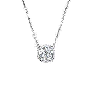 Auriya 14k Gold 1/4ct TDW Round Cut Diamond Solitaire Bezel Necklace