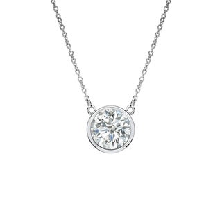 Auriya 14k Gold 1/3ct TDW Round Cut Diamond Solitaire Bezel Necklace (I-J, SI1-SI2)