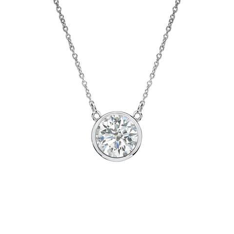 Auriya 1/3ctw Round Solitaire Diamond Necklace 14k Gold Bezel-set