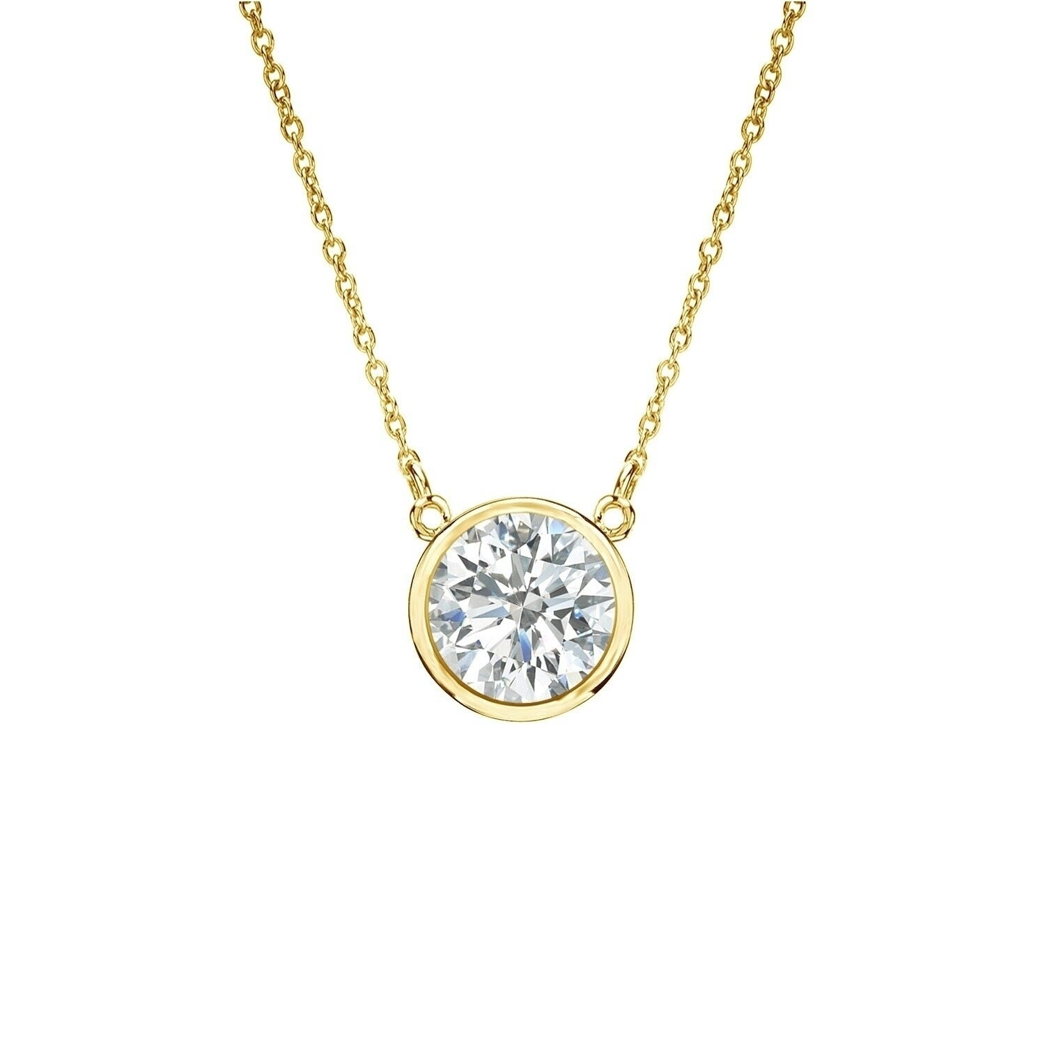 "1 ctw Round Choker Necklace Solitaire 13/""-16/"" Adjustable Chain 14k Yellow Gold"