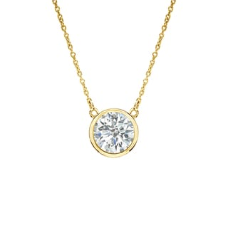 Auriya 14k Gold 1/ 3ct TDW Bezel Diamond Solitaire Necklace (I-J, SI2-SI3)