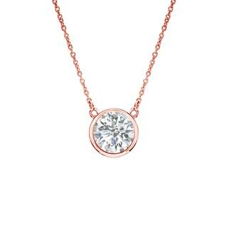 Auriya 14k Gold 1/ 3ct TDW Bezel Diamond Solitaire Necklace (I-J, SI2-SI3)