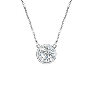 Auriya 14k Gold 1/3ct TDW Round Diamond Bezel Solitaire Necklace