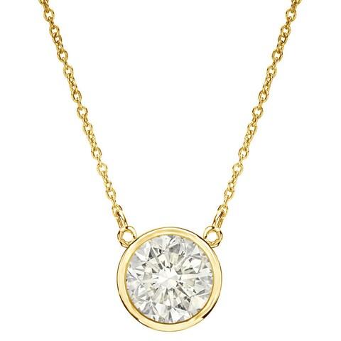 Auriya 14k Gold 1/3ct TDW Round Bezel Set Solitaire Diamond Necklace