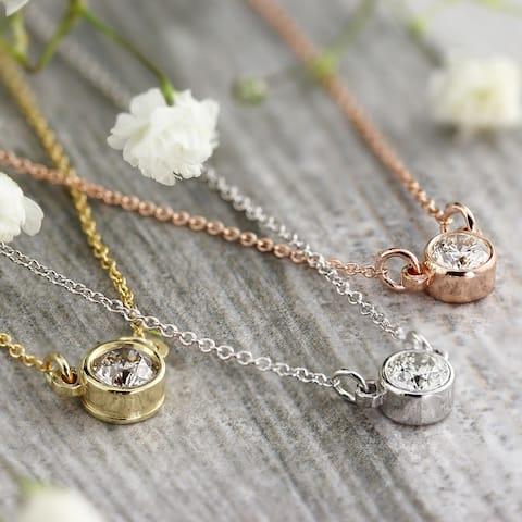 Auriya 1/3ctw Round Bezel Set Solitaire Diamond Necklace 14k Gold