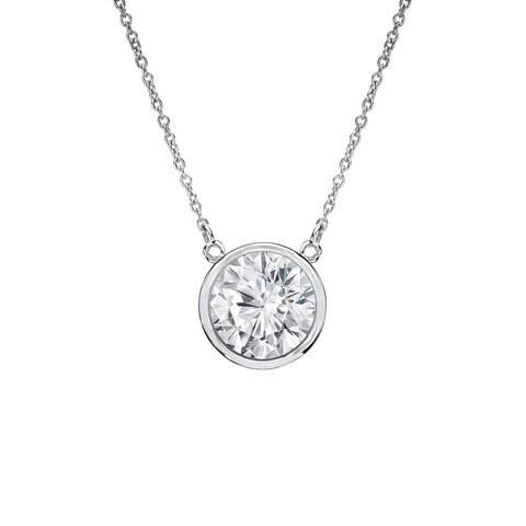 Auriya 1/2ctw Round Solitaire Diamond Necklace 14k Gold Bezel-set - 5mm