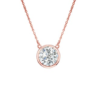 Auriya 14k Gold 1/2ct TDW Round Cut Diamond Solitaire Bezel Necklace (I-J, SI2-SI3)