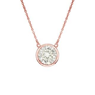 Auriya 14k Gold 1/2ct TDW Round Cut Diamond Solitaire Bezel Necklace (J-K, I1-I2)