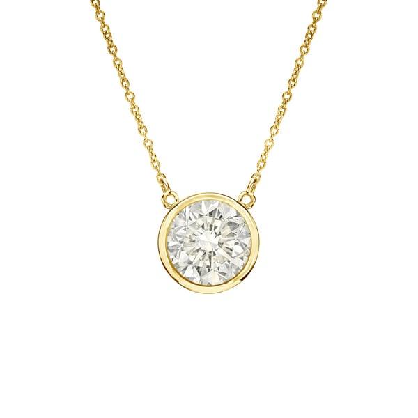 Auriya 14k Gold 1/2ct TDW Round Diamond Bezel Solitaire Necklace