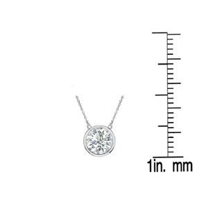 Auriya 14k Gold 3/4ct TDW Round Bezel Set Solitaire Diamond Necklace