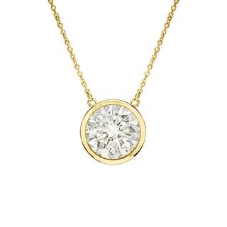 Auriya 14k Gold 3/4ct TDW Round Cut Diamond Solitaire Bezel Necklace (J-K, I1-I2)
