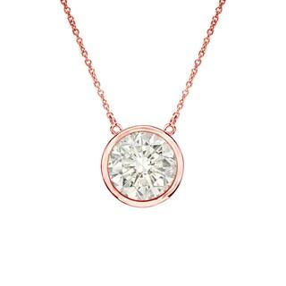 Auriya 14k Gold 3/ 4ct TDW Round Cut Diamond Solitaire Bezel Necklace (J-K, I1-I2)