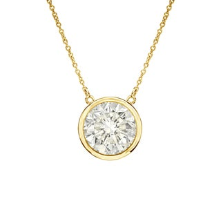 Auriya 14k Gold 3/4ct TDW Round Cut Diamond Solitaire Bezel Necklace (J-K, I1-I2)