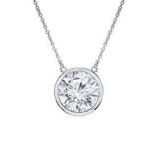Auriya 14k Gold 1ct TDW Round Cut Diamond Solitaire Bezel Necklace (H-I, VS1-VS2)